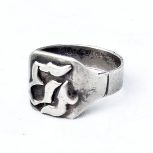 Antique Sterling Men's Ring w/Unknown Symbol